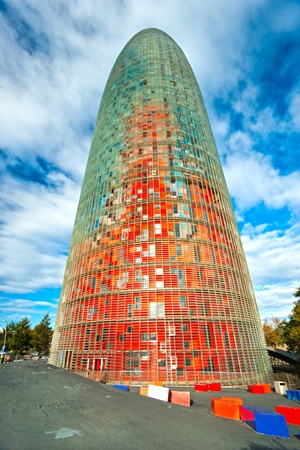 BARCELONA, SPAIN - DECEMBER 19: Torre Agbar on Technological District on December 19, 2011 in Barcelona, Spain. This 38-storey tower was designed by the famous architect Jean Nouvel. Stock Photo - 11848710