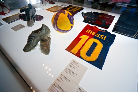 decembe: BARCELONA - SPAIN, DECEMBER 19: The FC Barcelona museum inaugurated on 24 September 1984.The museum occupies 3,500 square meters and attracts 1.2 million visitors a year, ranking it second to the Museu Picasso, which attracts 1.3 million visitors. Decembe