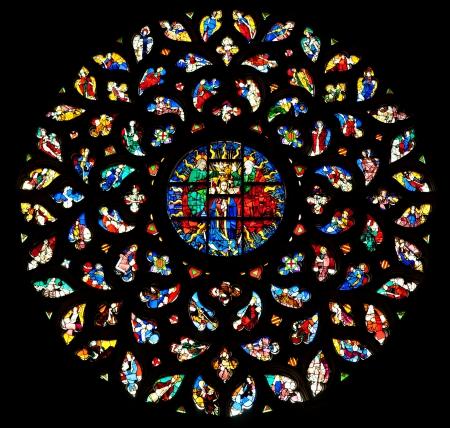 church window: The rosette window of Santa Maria del Mar, Barcelona  Editorial