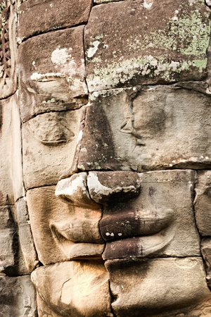 prayer tower: Bayon Tower at the last light before sunset, Angkor Thom, Siem Reap, Cambodia.