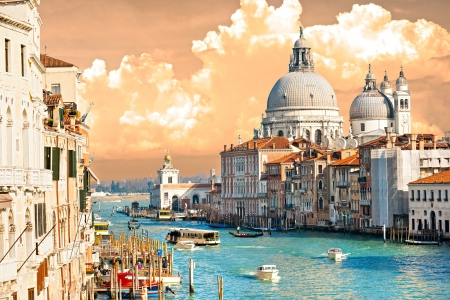 rialto: Venice, view of grand canal and basilica of santa maria della salute. Italy.