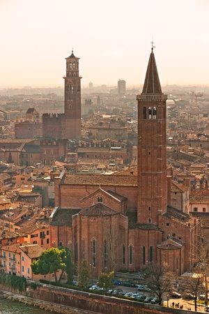 Verona panoramic view from the high hill, Italy photo