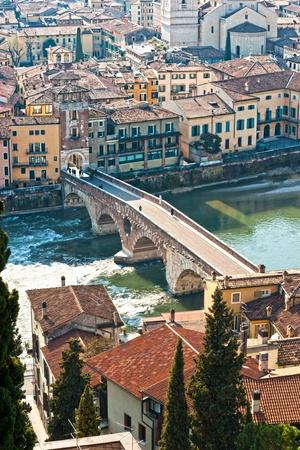 st peter: View of Adige river and St Peter bridge, Verona, Italy.