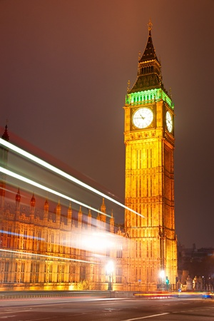 eye traveller: The Big Ben, the House of Parliament and the Westminster Bridge at night, London, UK. Stock Photo