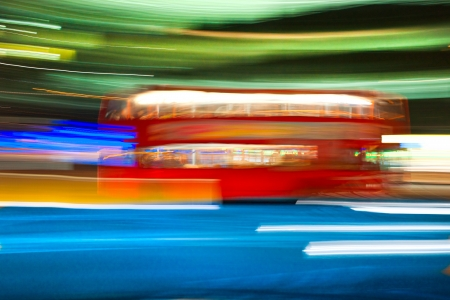 Blurred motion picture of a double-decker bus, London, Uk  photo