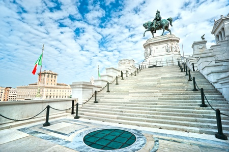 Wide-ngle vief of monument to Victor Emmanuel II near Vittoriano at day in Rome, Italy  photo