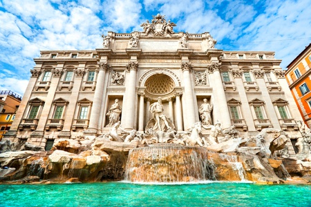 Wide angle view of The Famous Trevi Fountain, rome, Italy. photo