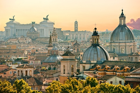 View of  Rome from Castel SantAngelo, Italy.
