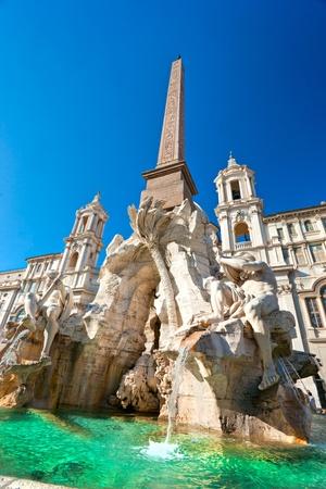 angelo: Neptune fountain in Piazza navona, Rome, Italy. Stock Photo