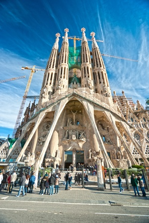 BARCELONA, SPAIN - DECEMBER 14: La Sagrada Familia - the impressive cathedral designed by Gaudi, which is being build since 19 March 1882 and is not finished yet December 14, 2009 in Barcelona, Spain. Stock Photo - 12092463