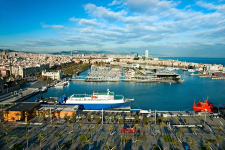 commercial activity: Barcelona port view from the air