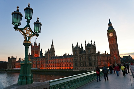 LONDON - MARCH 17: Big Ben and house of Parliament in early evening in London, England on March 17, 2011. The bell in Big Ben is 2.28 meters tall (7 feet six inches) and 2.75 meters wide (9 feet).