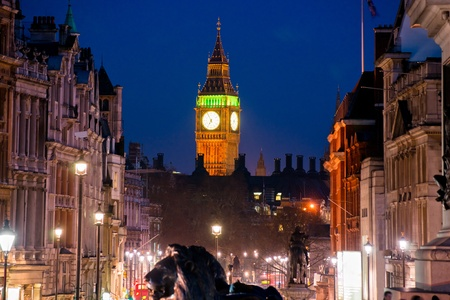 The Big Ben, view from trafalgar square, London, UK. photo