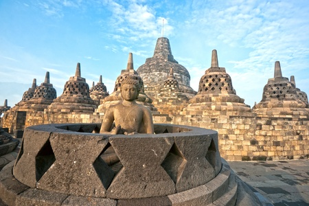 jogjakarta: Borobudur Temple at sunset. Yogyakarta, Java, Indonesia.
