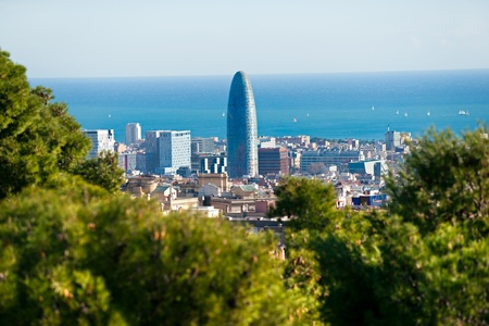 View of barcelona from Park Guell, Barcelona, Spain.