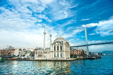 Ortakoy mosque and Bosphorus bridge, Istanbul, Turkey. photo