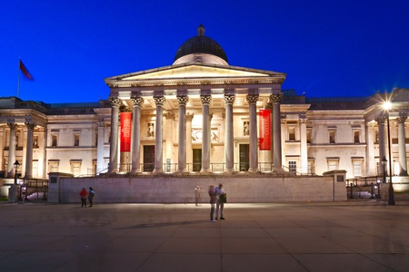 national cultures: Night shot of The national gallery, London, UK.