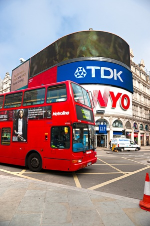 sanyo: LONDON - MARCH 18 View of Piccadilly Circus on March 18, 2011 in London. Famous advertisements of TDK and Sanyo have been here for at least 20 years and are considered symbols of famous square.