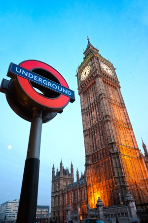 The Big Ben. The London Underground logo