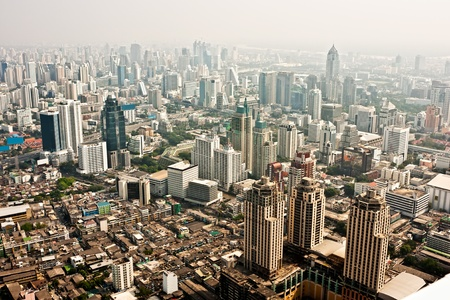 silom: Bangkok skyline, Thailand. Stock Photo