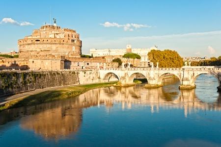 bernini: Castel Santangelo and Berninis statue on the bridge, Rome, Italy. Editorial