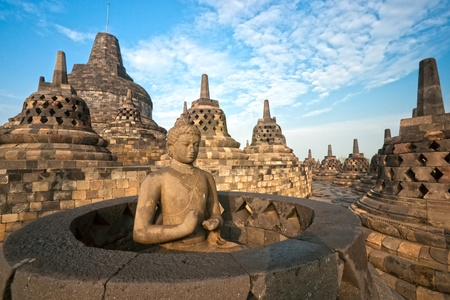 Borobudur Temple at sunset. Yogyakarta, Java, Indonesia.