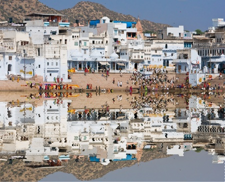 sadhu: View of the City of Pushkar, Rajasthan, India.