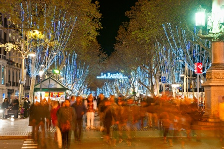 Night shot of La Rambla of Barcelona, Spain