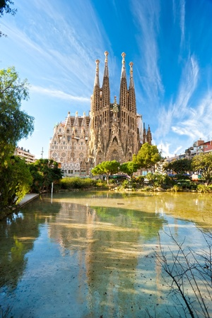 catalunia: BARCELONA, SPAIN - DECEMBER 14: La Sagrada Familia - the impressive cathedral designed by Gaudi, which is being build since 19 March 1882 and is not finished yet December 14, 2009 in Barcelona, Spain.