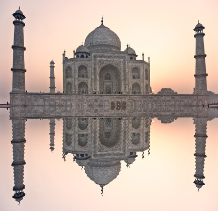 agra: Panoramic view of Taj Mahal at sunset, Agra, Uttar Pradesh, India.