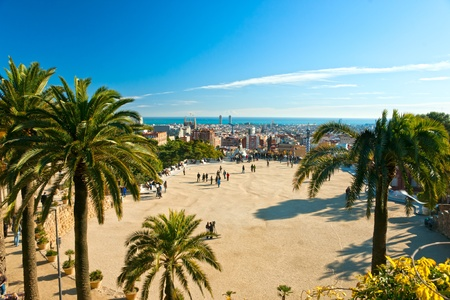 guell: View of barcelona from Park Guell, Barcelona, Spain. Stock Photo
