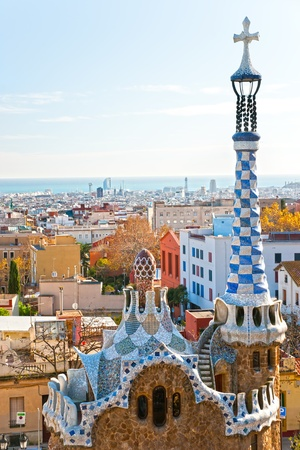 barcelone: Parc Guell � Barcelone, Espagne. �ditoriale