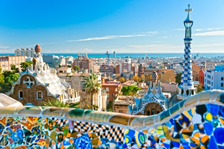 Parc Guell à Barcelone, Espagne. Banque d'images