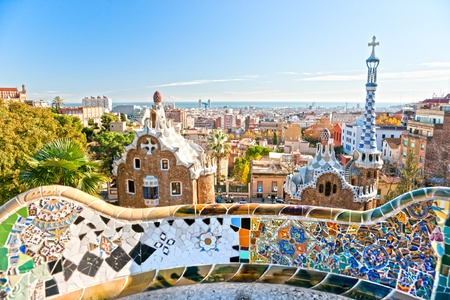 barcelone: Parc Guell à Barcelone, Espagne. Banque d'images