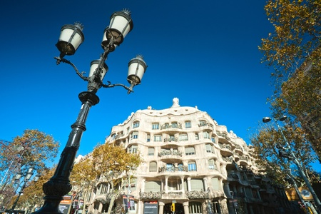 familia casa barcelona spain december casa mila or la pedrera