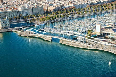 Barcelona port view from the air photo