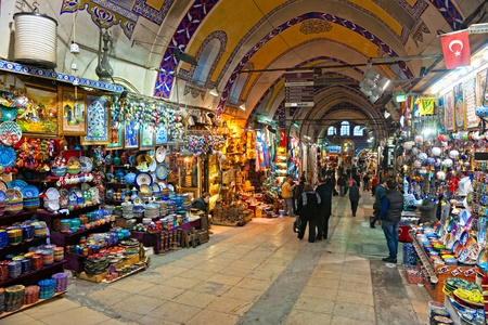 kapalicarsi: ISTANBUL - JANUARY 25,: the Grand Bazaar, considered to be the oldest shopping mall in history with over 1200 jewelry,carpet, leather,spice and souvenir shops. January 25, 2011 in Istanbul, Turkey.