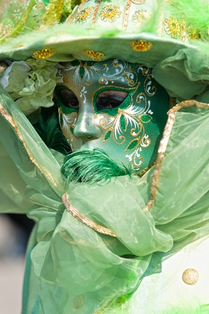 Portrait of a Beautiful mask in Venice, Italy.
