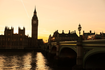 The Big Ben, the House of Parliament and the Westminster Bridge at night, London, UK. Stock Photo - 12886240