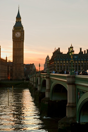 britannia: The Big Ben, the House of Parliament and the Westminster Bridge at night, London, UK. Editorial
