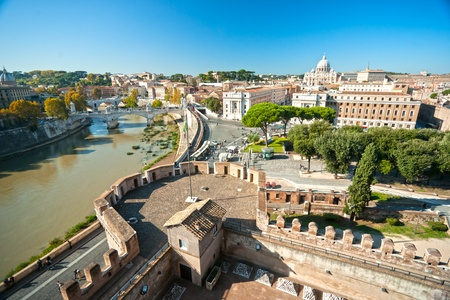 View of  San Peter basilica from Castel SantAngelo,  Rome, Italy. photo