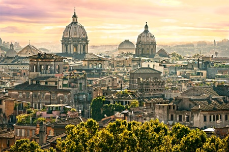 basilica of saint peter: View of Rome from Castel SantAngelo, Italy.