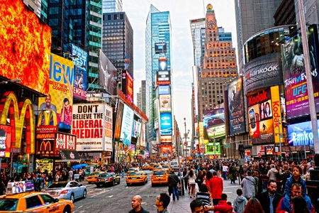 NEW YORK CITY -MARCH 25: Times Square, featured with Broadway Theaters and animated LED signs, is a symbol of New York City and the United States, March 25, 2012 in Manhattan, New York City. USA. Stock Photo - 13095699