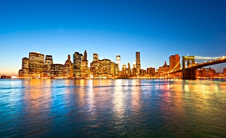 Brooklyn view of Manhattan, New York City. USA.