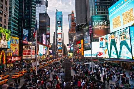 NEW YORK CITY -MARCH 25: Times Square, featured with Broadway Theaters and animated LED signs, is a symbol of New York City and the United States, March 25, 2012 in Manhattan, New York City. USA. Stock Photo - 13315452