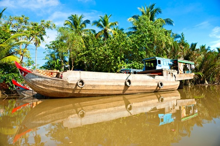 mekong: Boats in a harbor in the Mekong delta, Can Tho, Vietnam