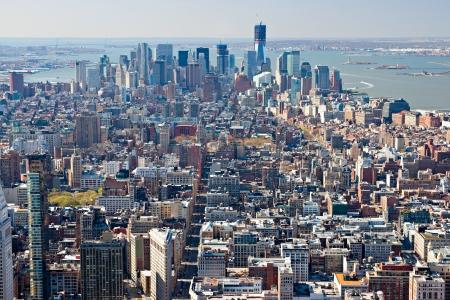 big window: Aerial view of Manhattan, New York City  USA  Stock Photo
