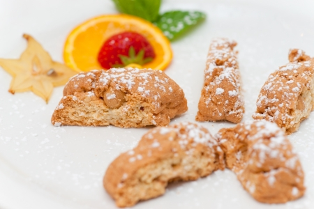 Delicious almond biscuits on a decorated plate Stock Photo - 14056554