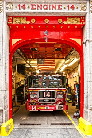 NEW YORK -MARCH 29  New York Fire Department Engine 14  The FDNY is the largest combined Fire and EMS provider in the world March 29th 2012 in Manhattan, New York City  Stock Photo - 16179411