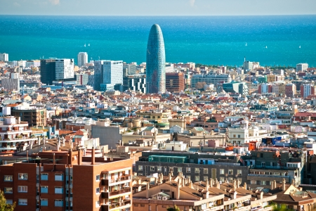View of barcelona from Park Guell, Barcelona, Spain  photo